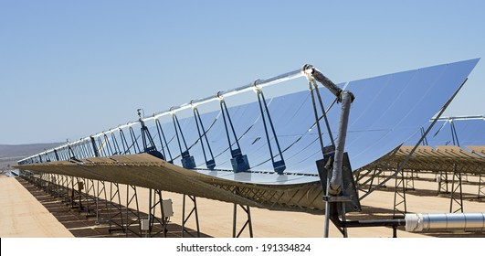 solar electric power plant parabolic mirrors concentrating sunlight