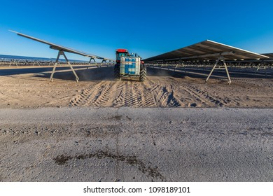 Solar Energy, a clean way of reducing CO2 emissions and the best place for Solar Energy is the Atacama Desert at north Chile. Here we can see how a PV Plant is cleaned