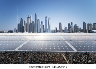 solar energy with modern city