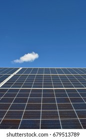 Solar energy panel. Low angle view.