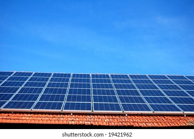 Solar energy panel on the roof of a barn