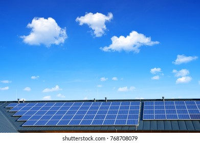 Solar energy panel on the roof of the house in the background blue sky. The concept of ecological housing.
