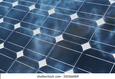 Solar Energy panel with reflecting clouds as a industrial background. Sustainable energy concept.