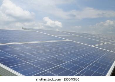 Solar energy panels and blue sky