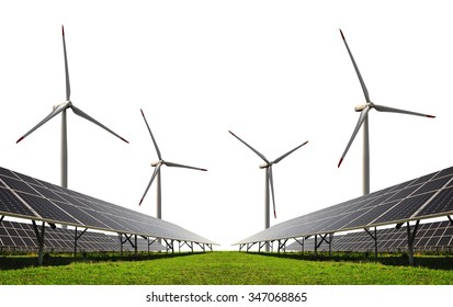 Solar energy panels with wind turbines on white background. Clean energy.