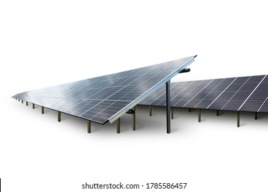 Solar energy park with solar panels in diminishing perspective, isolated on white