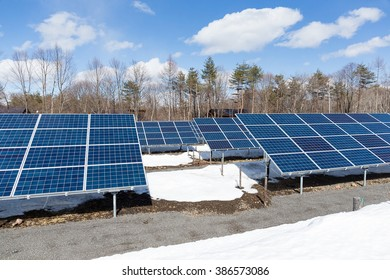 Solar energy station with snow