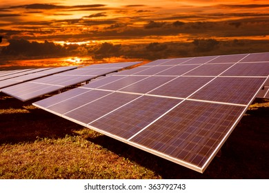 Solar energy with sunset , Clean energy , Natural energy