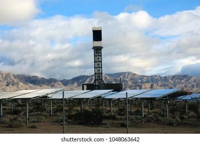 Solar Farm in the California - Nevada Desert. Solar Panels turn sunlight into electricity. Ecology. Solar Collector