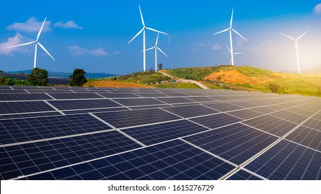 Solar farms and wind power plants  is a renewable energy power plant. Clean energy concept.