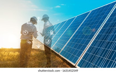 The solar farm(solar panel) with two engineers is diagnosing the production capacity, Alternative energy to conserve the world's energy, Photovoltaic module idea for clean energy production.