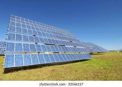 Solar field with blue sky