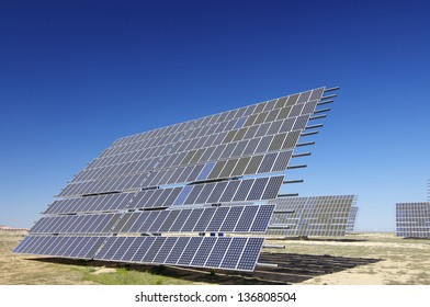 Solar field for renewable energy with blue sky