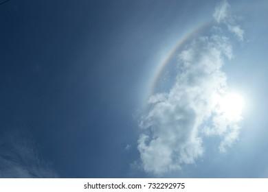 Solar halo on sky, corona sun, optical phenomenon, ant's eye view.
