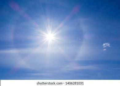 Solar halo phenomenon. Spiritual halo phenomenon. Natural phenomenon Sun halo.