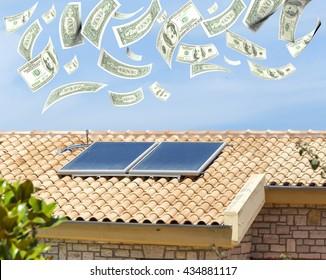 solar heater, money dollars  flying from the sky, 3d rendering