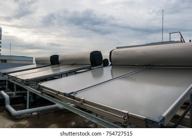 Solar hot water system on rooftop