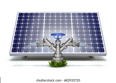 Solar irrigation concept with solar panel and water hydrant - 3d illustration
