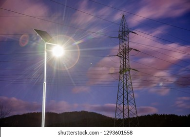 Solar lights in urban environment. Renewable energy, electricity, smart grid.