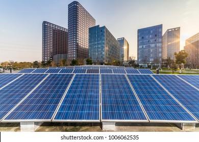 Solar and modern city skyline