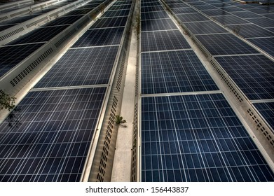 solar modules on a flat roof in Switzerland, high dynamic range