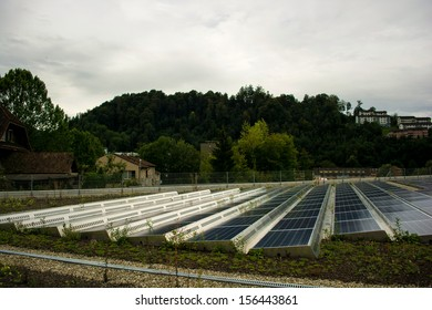 solar modules on a flat roof in Switzerland