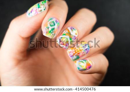 Solar Nails Covered Multicolored Colored Lacquer Stock Photo Edit