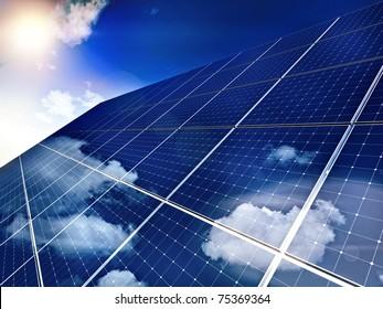Solar panel against blue sky - free sun energy,