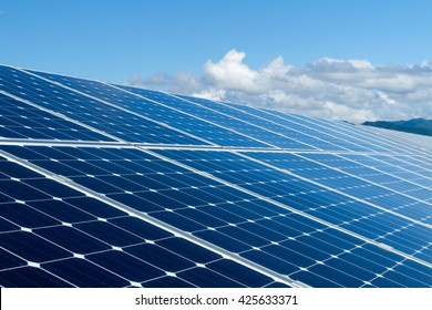 Solar panel against clouds and blue sky.