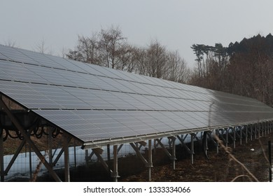 Solar panel array on cloudy day, efficency and green energy. Energy production. Renewable energy