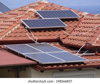Solar panel array on a rooftop