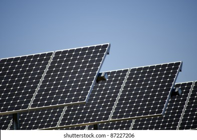 A solar panel array provides electricity from sun power