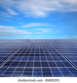 Solar panel beneath the sky