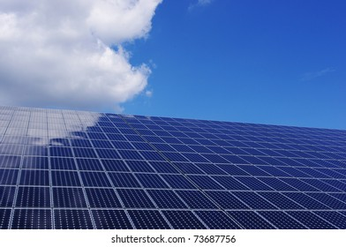 Solar panel and blue sky. Renewable, clean energy.