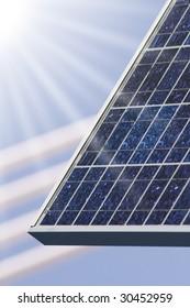 solar panel with blue sky an sunbeam