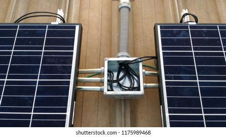 solar panel and cable installation on roof