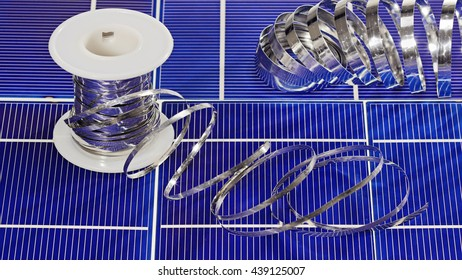 Solar panel cell elements and wires assembling details, closeup view