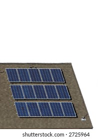 Solar panel cells on a building roof over white
