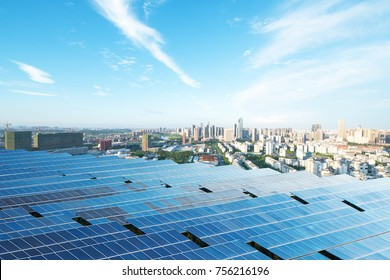 solar panel with cityscape of los angeles in cloud sky