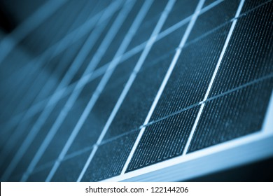 Solar panel close up color processed, blue