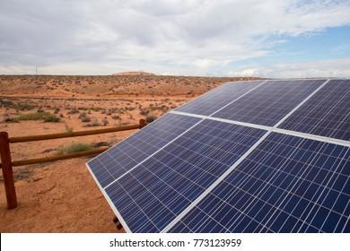 Solar panel in desert