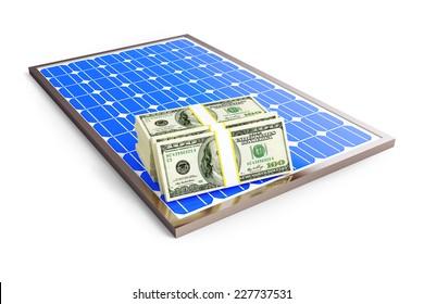 solar panel dollar on a white background
