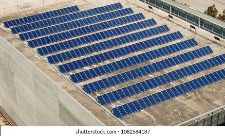 Solar panel farm set up on building roof in South Australia