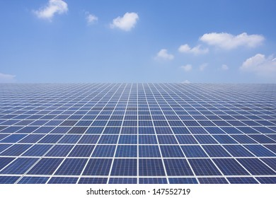 Solar panel in front of a blue sky