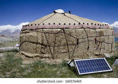 solar panel in front of a yurta in china