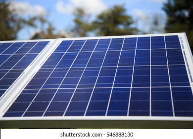 solar panel with grass field, alternative energy concept,