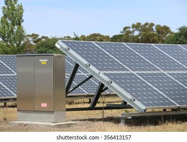 solar panel grids at an energy conversion solar park