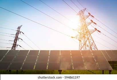 solar panel and High voltage transmission towers