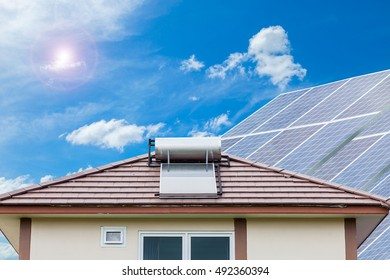 Solar panel for hot water system on roof blue sky background , Energy saving and natural energy concept