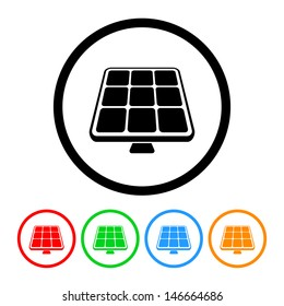 Solar Panel Icon with Color Variations. Raster version, vector also available.